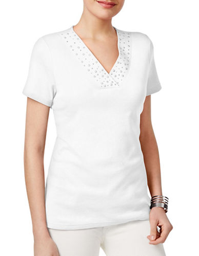 Karen Scott Studded-Neck Top-WHITE-Medium 89081623_WHITE_Medium