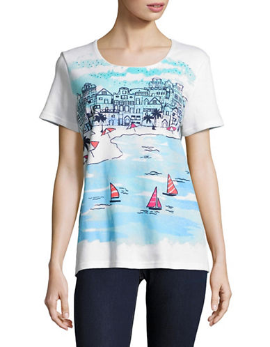 Karen Scott Dream Scene Embellished T-Shirt-BLUE-X-Large 89081637_BLUE_X-Large