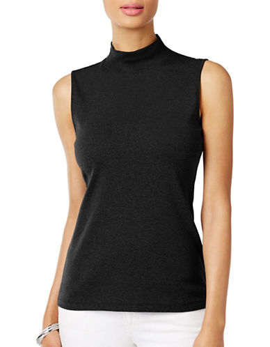 Karen Scott Sleeveless Mockneck Tank Top-BLACK-X-Large