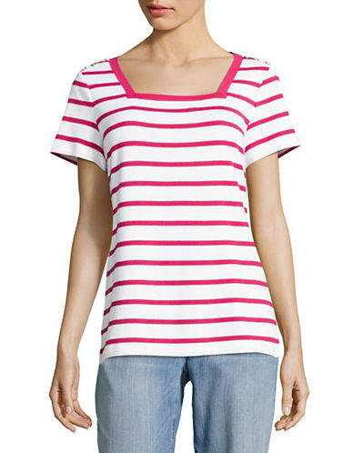 Karen Scott Striped Square Neck T-Shirt-PINK-X-Large 89081602_PINK_X-Large