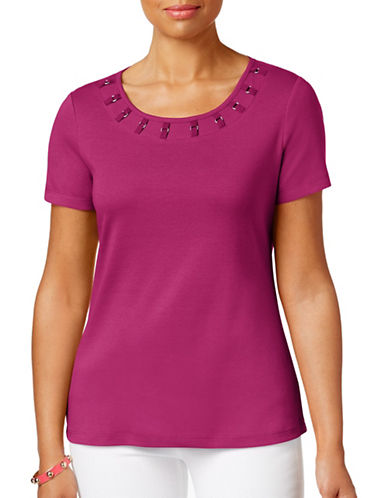 Karen Scott Petite Petite Short Sleeve Tape Trim Top-PINK-Petite X-Small