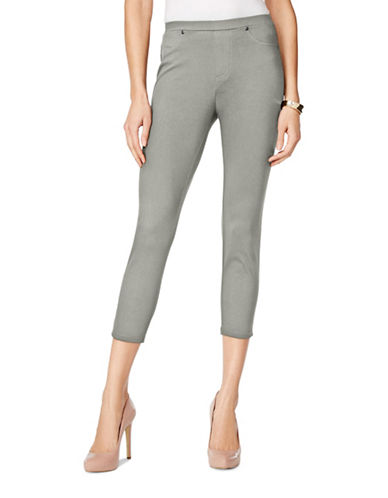 Style And Co. Twill Capri Leggings-GREY-Large 89059728_GREY_Large