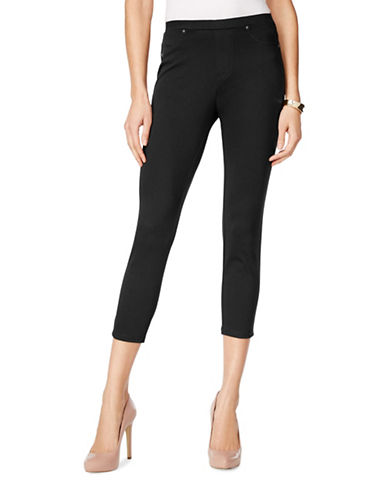 Style And Co. Petite Petite Knit Twill Cropped Capri Leggings-BLACK-Petite Medium 89065791_BLACK_Petite Medium