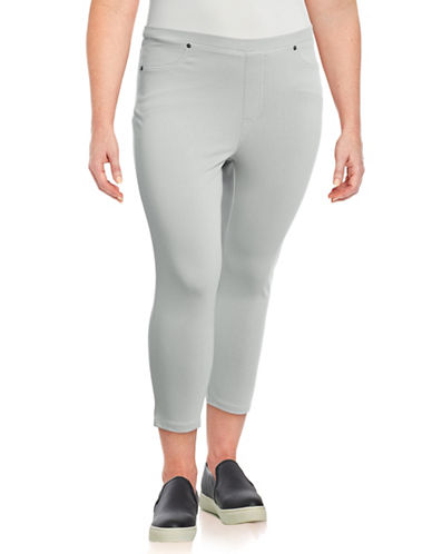 Style And Co. Plus Knit Twill Capri Pants-SILVER-1X
