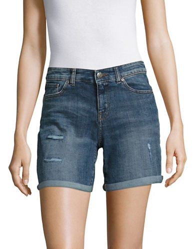 Style And Co. Petite Mid-Rise Distressed Denim Shorts-NO COLOR-Petite 12