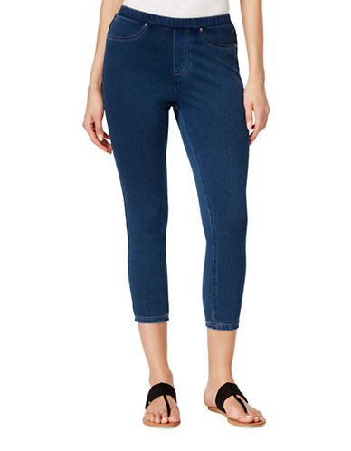 Style And Co. Petite Capri Jeggings-BLUE-Petite Medium
