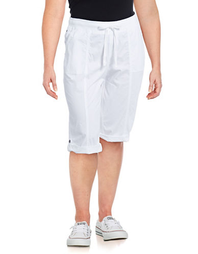 Style And Co. Plus Ribbed-Waist Skimmer Capris-WHITE-18W