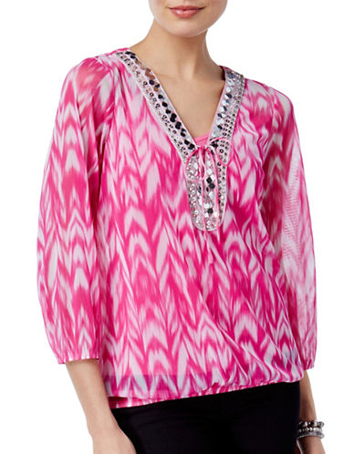 I.N.C International Concepts Embellished Peasant Top-RED-Large