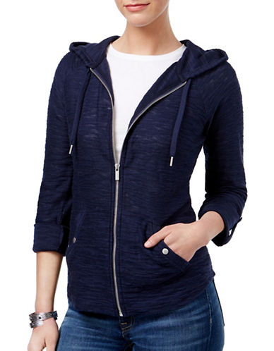 Style And Co. Zippered Roll-Tab Hoodie-BLUE-X-Large 89170165_BLUE_X-Large