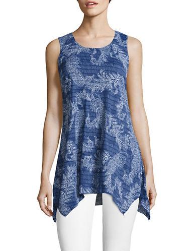 Style And Co. Sleeveless Mesh Sharkbite Tunic Top-BLUE-X-Large 89165619_BLUE_X-Large