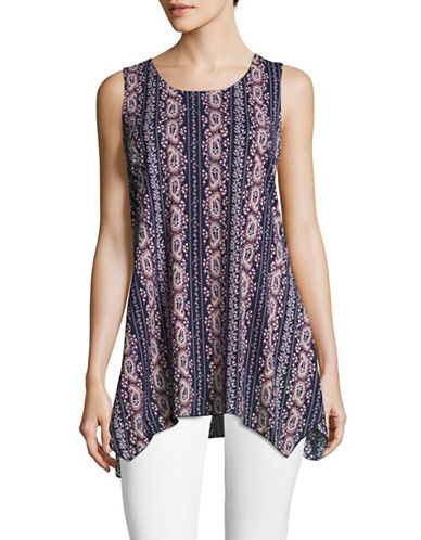 Style And Co. Tapestry Print Sharkbite Tank-BLUE-Medium 89088739_BLUE_Medium