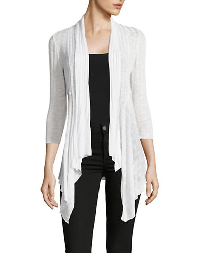 I.N.C International Concepts Petite Rib Cozy Cardigan-WHITE-Petite Medium