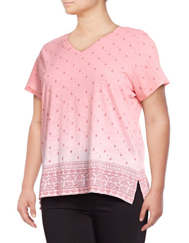 Style And Co. Plus Paisley Border T-Shirt-PINK-3X