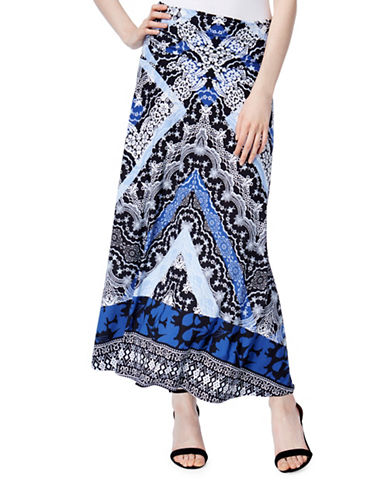 I.N.C International Concepts Petite Artful Print Convertible Skirt-BLUE MULTI-Petite Large