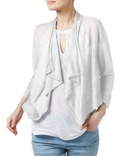 I.N.C International Concepts Rib-Trim Linen-Blend Shrug-WHITE-X-Large 89143745_WHITE_X-Large