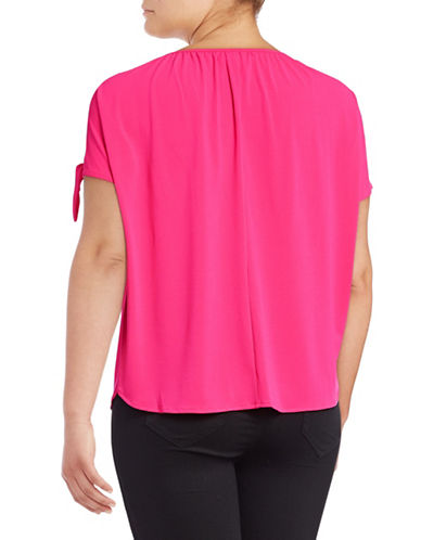 I.N.C International Concepts Plus Tie-Sleeve Top-RED-1X