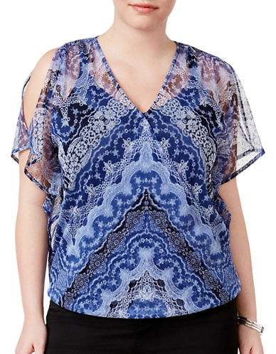 I.N.C International Concepts Plus Plus Split-Sleeve Top-BLUE-1X