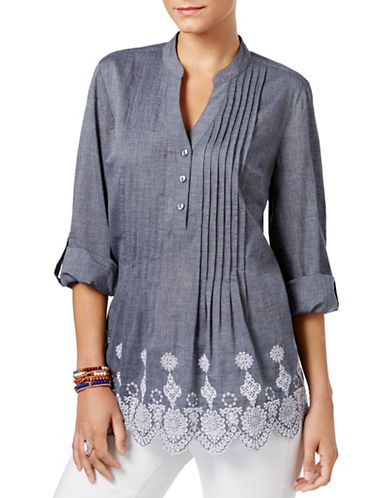 Style And Co. Cotton Eyelet-Hem Top-BLUE-Small 89165621_BLUE_Small