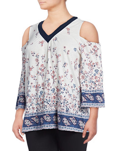 Style And Co. Plus Crochet-Trim Cold-Shoulder Top-NATURAL-2X
