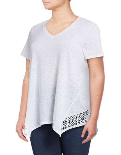 Style And Co. Plus Crochet Hanky Hem T-Shirt-WHITE-1X
