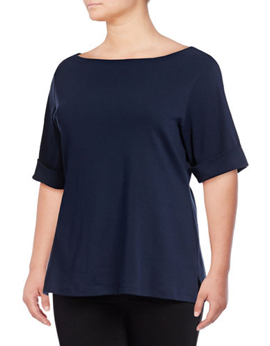 Karen Scott Plus Plus Cuffed Tee-BLUE-1X