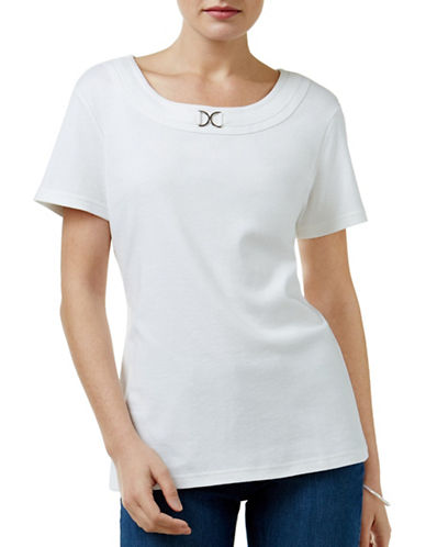 Karen Scott Petite Petite Buckle-Detail Top-WHITE-Petite Small