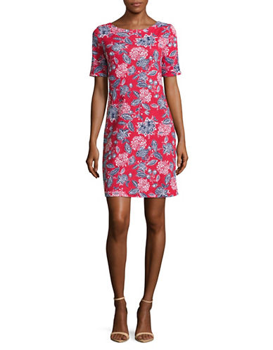 Karen Scott Petite Printed Elbow-Sleeve T-Shirt Dress-RED-Petite Large