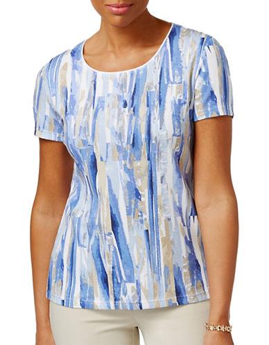 Karen Scott Petite Petite Printed T-Shirt-BLUE-Petite Large