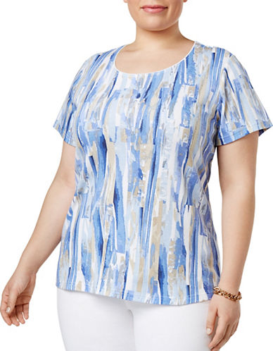 Karen Scott Plus Plus Painterly Geometric-Print Tee-INDIGO-1X