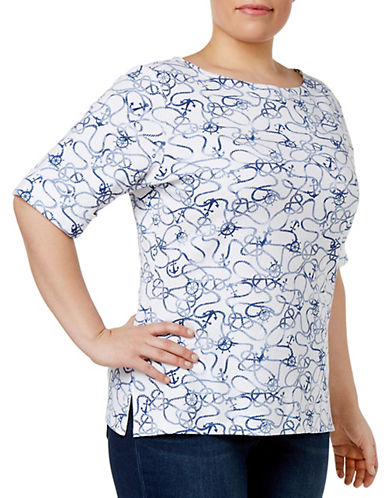 Karen Scott Plus Printed Boat-Neck Top-WHITE-2X