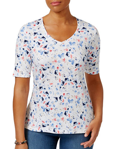 Karen Scott Venice Vines Floral-Print Tee-WHITE-Medium