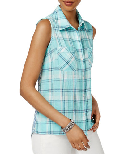 Style And Co. Mixed-Print Sleeveless Shirt-BLUE-Large