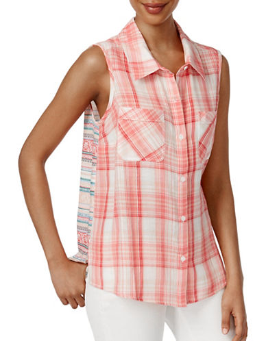 Style And Co. Sleeveless Mixed-Print Shirt-ASSORTED-Large