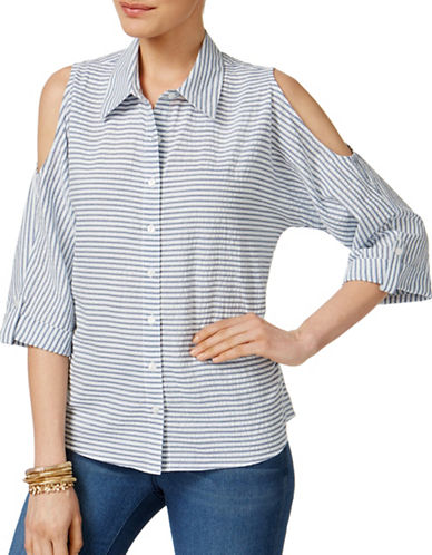 Style And Co. Cotton Striped Cold-Shoulder Shirt-ASSORTED-Medium