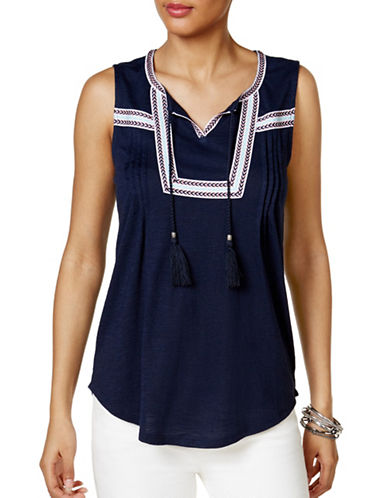 Style And Co. Petite Petite Peasant Top-BLUE-Petite Large