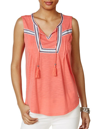 Style And Co. Petite Petite Peasant Top-PINK-Petite Large