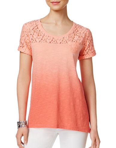 Style And Co. Petite Petite Lace Dip-Dyed Top-PINK-Petite Medium