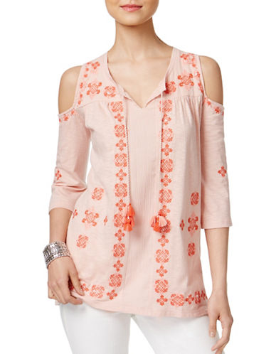 Style And Co. Petite Embroidered Cold-Shoulder Top-PINK-Petite Medium