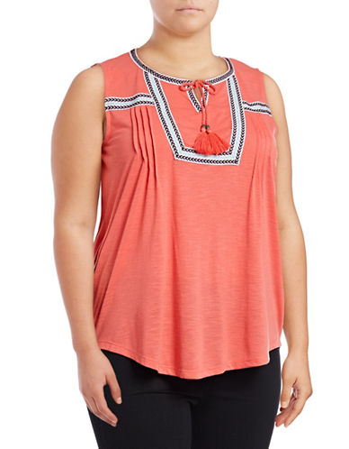 Style And Co. Plus Taped Sleeveless Peasant Top-ORANGE-3X