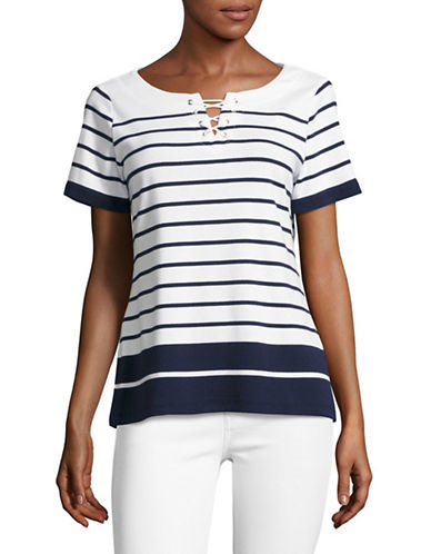 Karen Scott Striped Tee-BLUE-X-Large 89168287_BLUE_X-Large