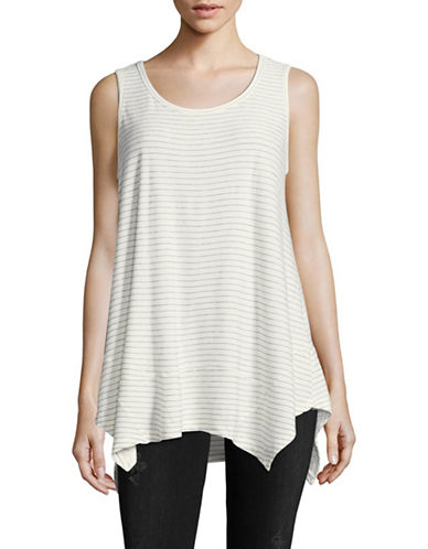 Style And Co. Handkerchief Tank-WHITE STRIPE-X-Large