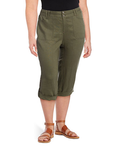 I.N.C International Concepts Plus Embroidered Roll-Tab Linen Capri Pants-OLIVE-18W