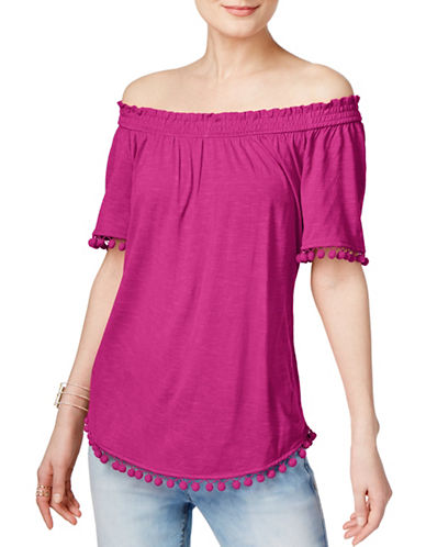 I.N.C International Concepts Popsicle Off-the-Shoulder Top-MAGENTA-X-Large