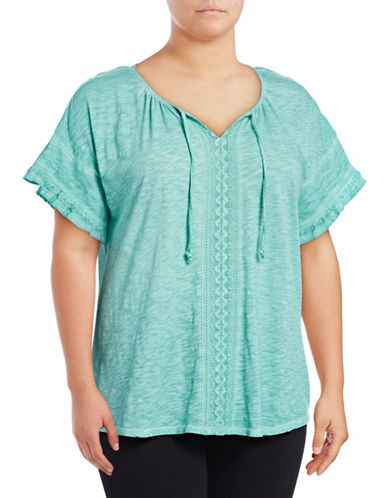 Style And Co. Plus Washed Ruffle T-Shirt-BLUE-2X