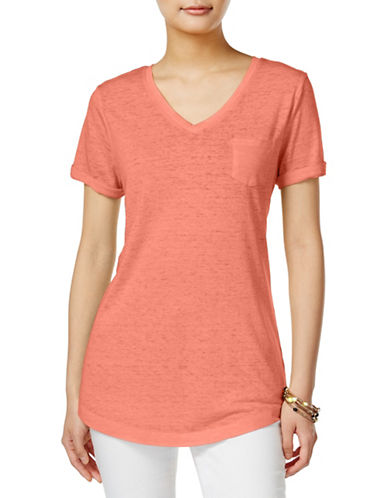 Style And Co. V-Neck Burnout Pocket Tee-PINK-X-Large 89188467_PINK_X-Large