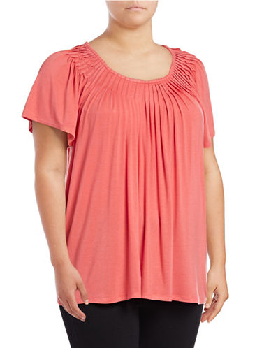 Style And Co. Plus Short Sleeve Pleat Neck Top-ORANGE-2X