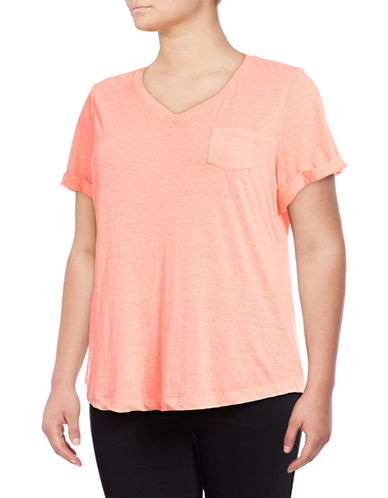 Style And Co. Plus Burnout V-Neck Pocket T-Shirt-ORANGE-1X