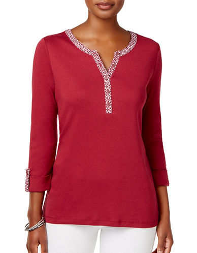 Karen Scott Petite Petite Printed Trim Cotton Henley Top-RED-Petite X-Small