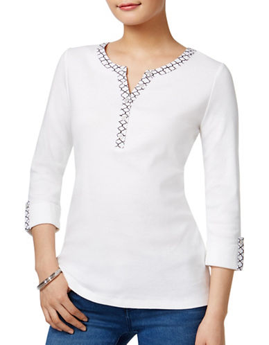 Karen Scott Petite Petite Geometric-Print Cotton Henley Top-WHITE-Petite Medium