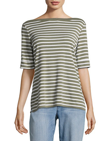 Karen Scott Striped Elbow-Sleeve Top-GREEN-X-Large 89227261_GREEN_X-Large